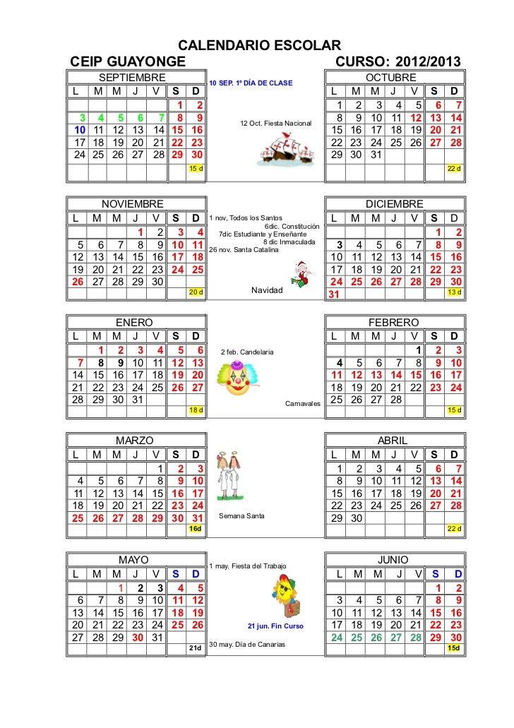 CALENDARIO ESCOLARCEIP GUAYONGE                CURSO: 2012/2013      SEPTIEMBRE                   10 SEP. 1º DÍA DE CLASE ...