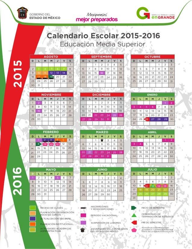 Calendario Media Superior Estado De Mexico 2017