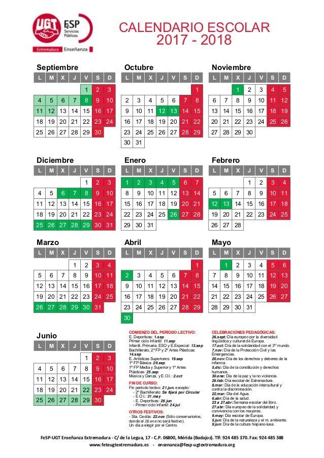 Calendario Escolar Europa 2019.Calendario Escolar 2017 18