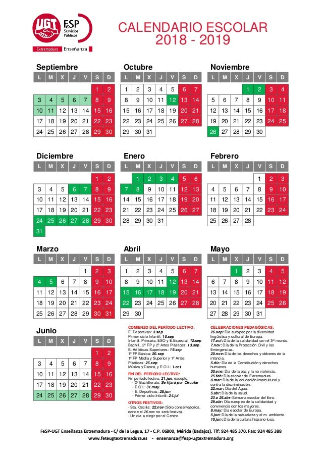Calendario Escolar Europa 2019.Calendario Escolar 2018 19