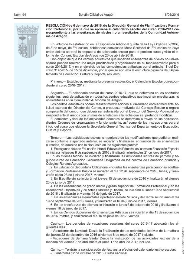 Aragon Calendario Escolar.Calendario Escolar Curso 2016 2017 Aragon