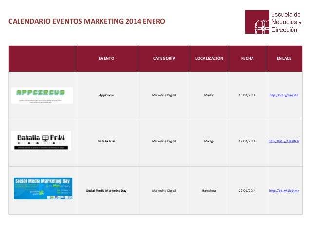 CALENDARIO EVENTOS MARKETING 2014 ENERO  EVENTO  CATEGORÍA  LOCALIZACIÓN  FECHA  ENLACE  AppCircus  Marketing Digital  Mad...