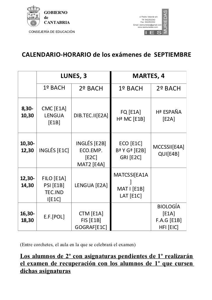 GOBIERNO            de            CANTABRIA    CONSEJERÍA DE EDUCACIÓNCALENDARIO-HORARIO de los exámenes de SEPTIEMBRE    ...