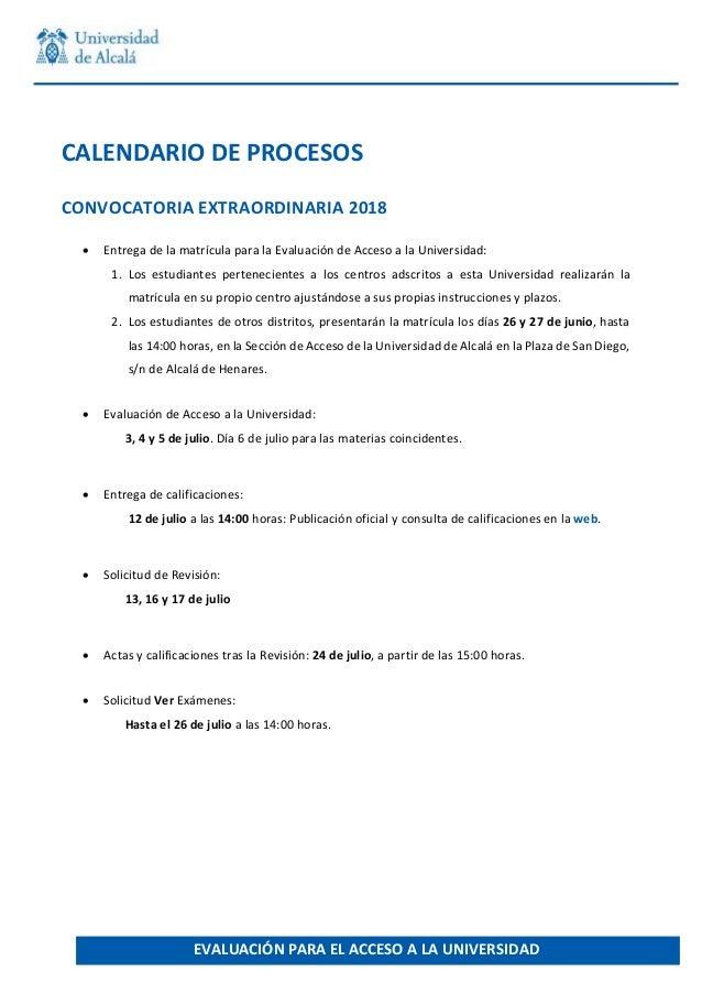 CALENDARIODEPROCESOS CONVOCATORIAEXTRAORDINARIA2018  EntregadelamatrículaparalaEvaluacióndeAc...