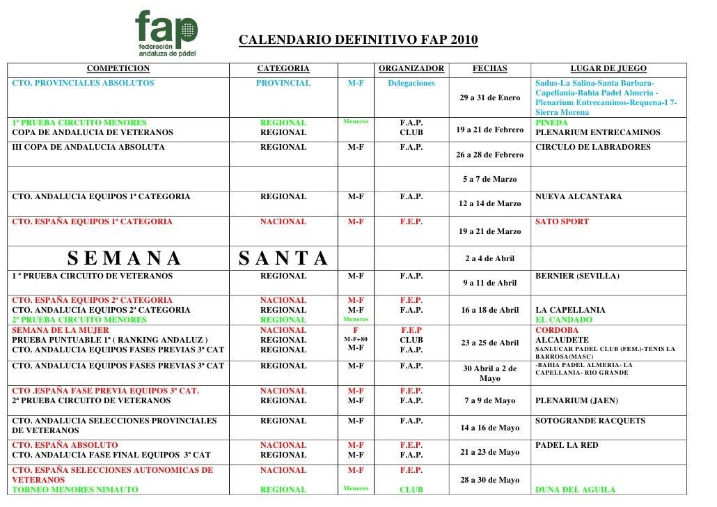 CALENDARIO DEFINITIVO FAP 2010                COMPETICION                      CATEGORIA              ORGANIZADOR         ...
