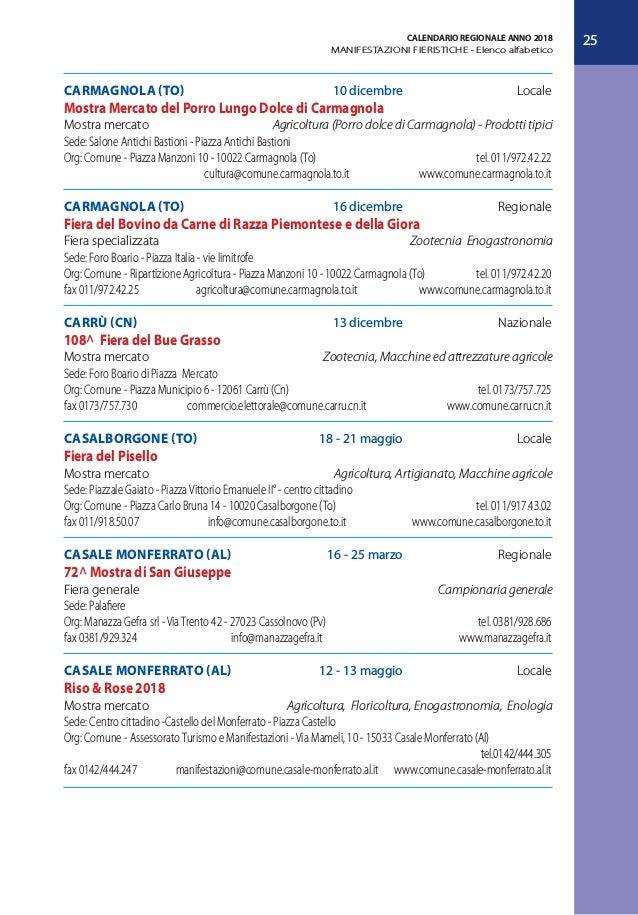 Trento Fiere Calendario.Calendario Fiere E Sagre In Piemonte 2018