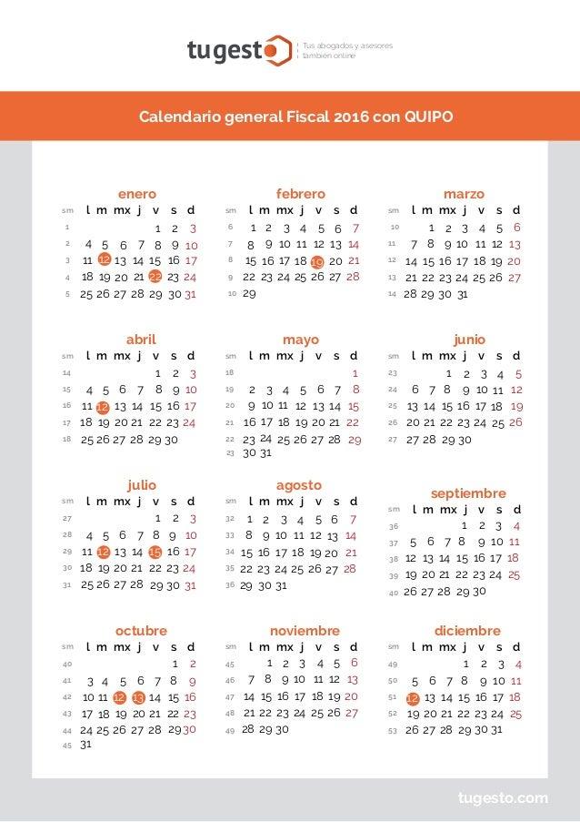 Calendario Fiscal.Calendario Fiscal 2016