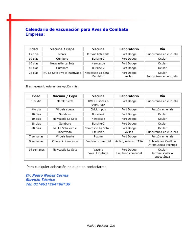 Calendario de vacunación para Aves de Combate Empresa:     Edad              Vacuna / Cepa                  Vacuna        ...