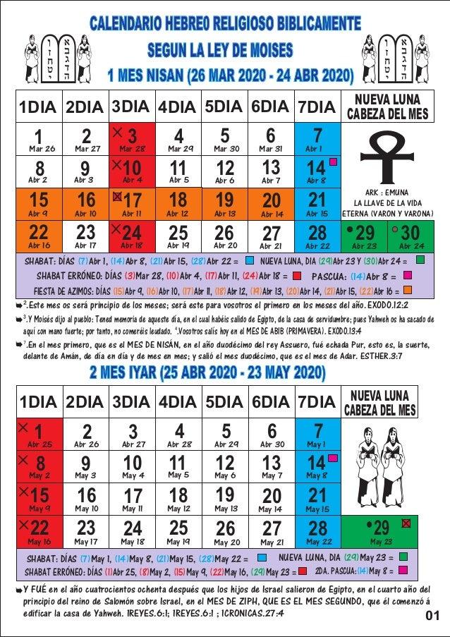 Calendario 202018.Calendario Hebreo Religioso 2020
