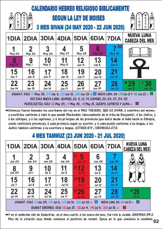 Calendario Religioso 2020.Calendario Hebreo Religioso 2020
