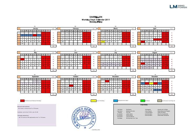 Calendario Laboral Castellon.Calendario Laboral 2011 Castellon