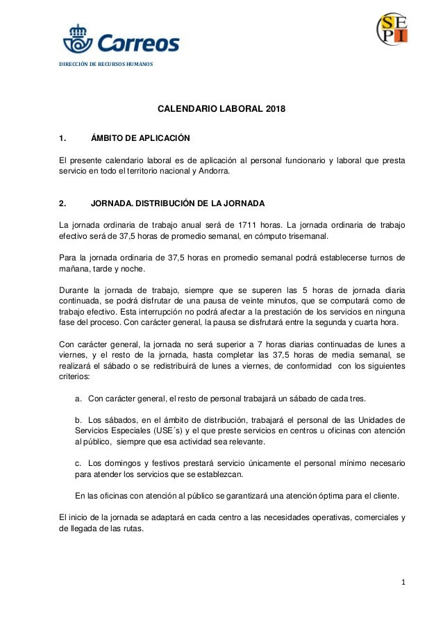 Calendario Laboral Fuenlabrada 2019.Correos Calendario Laboral 2018