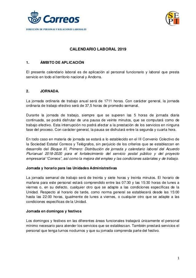 Calendario Laboral 2020 Sevilla.Calendario Laboral Correos 2019