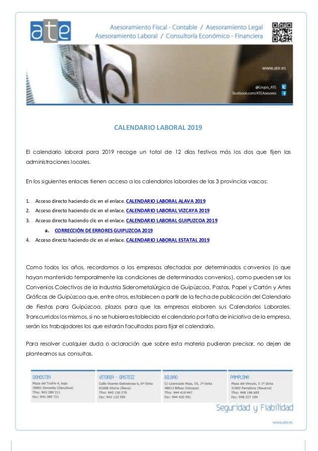 Calendario Laboral 2019 Bilbao.Calendario Laboral De 2019