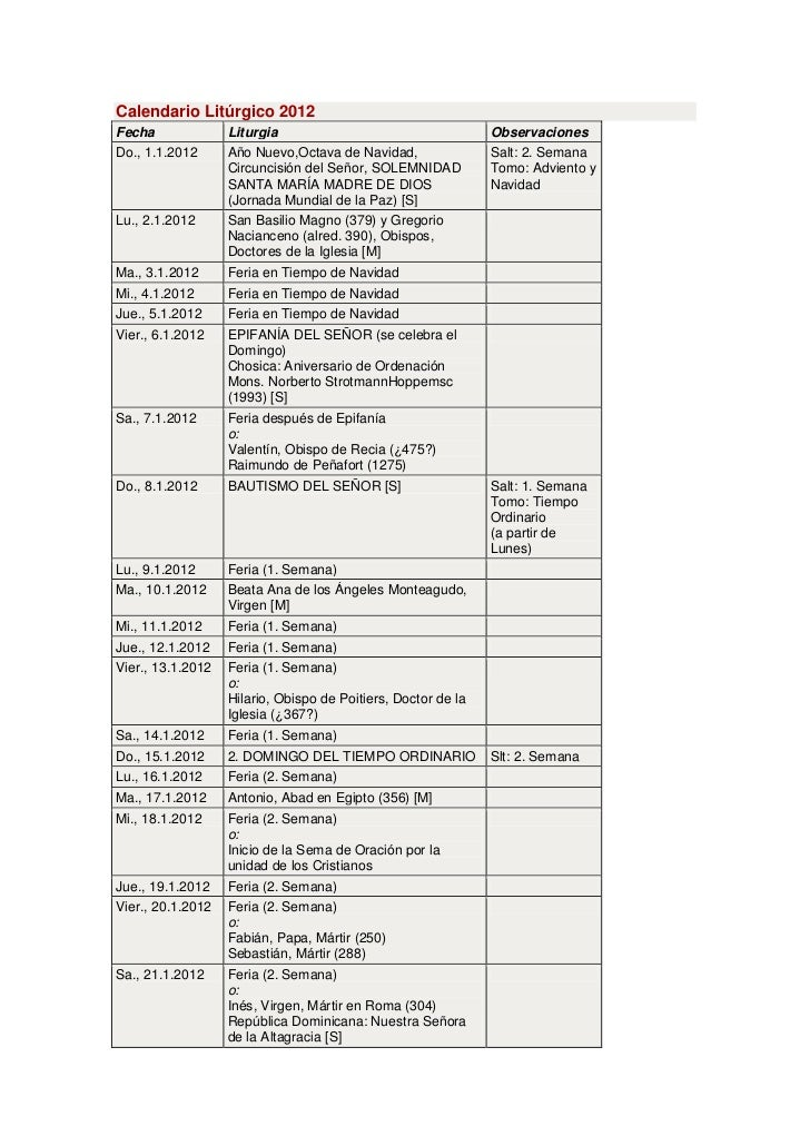 Calendario Litúrgico 2012Fecha              Liturgia                                    ObservacionesDo., 1.1.2012      Añ...