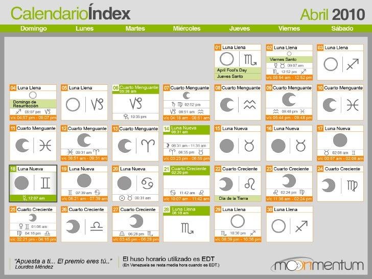 Luna Llena Calendario.Calendario Lunar Astrologico Abril 2010