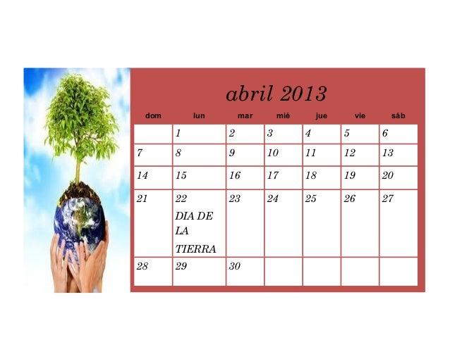 Calendario Mensual De Abril Del 2013