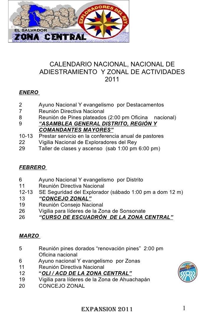 CALENDARIO NACIONAL, NACIONAL DE        ADIESTRAMIENTO Y ZONAL DE ACTIVIDADES                        2011ENERO2       Ayun...