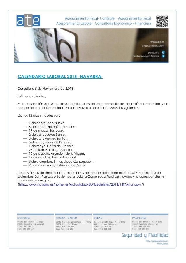 Calendario Laboral Navarra.Calendario Laboral Navarra 2015