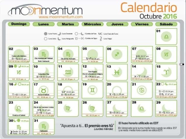 Calendario octubre 2016 for Calendario lunar de octubre 2016