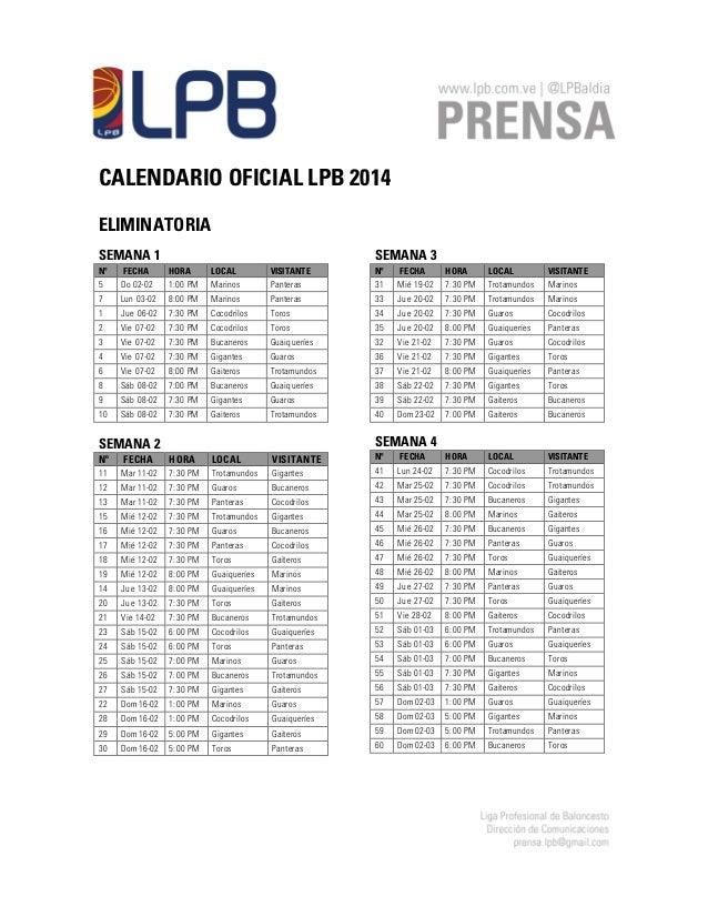 CALENDARIO OFICIAL LPB 2014 ELIMINATORIA SEMANA 1  SEMANA 3  Nº  FECHA  HORA  LOCAL  VISITANTE  Nº  FECHA  LOCAL  VISITANT...