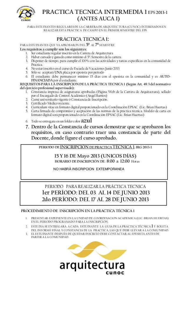 SOLO SE INSCRIBE UN ESTUDIANTE POR OPCION Y POR EPESISTANO HABRÁ INSCRIPCION EXTEMPORANEAPRACTICA TECNICA INTERMEDIA 1 EPS...