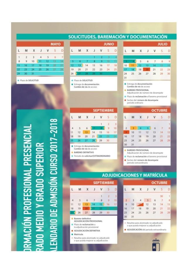 Calendario plazos solicitud fp jccm 2017