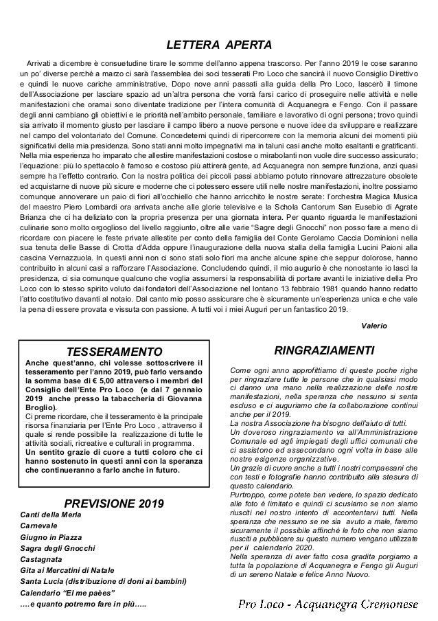 Calendario Cremonese.Calendario Pro Loco Acquanegra Cremonese 2019