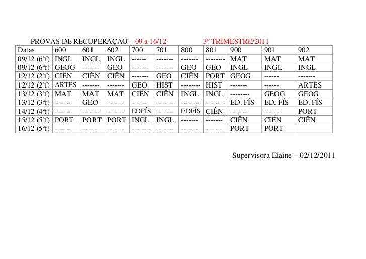 Fis Calendario.Calendario Provas Recuperacao Turno1