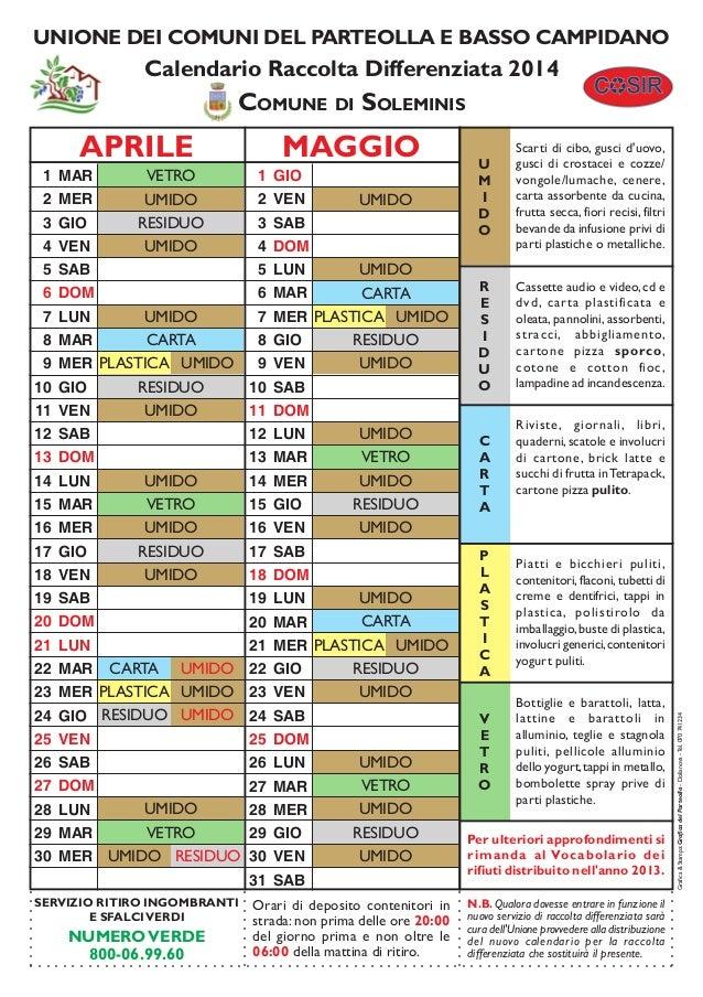 UNIONE DEI COMUNI DEL PARTEOLLA E BASSO CAMPIDANO  Calendario Raccolta Differenziata 2014  COMUNE DI SOLEMINIS  7 MER UMID...