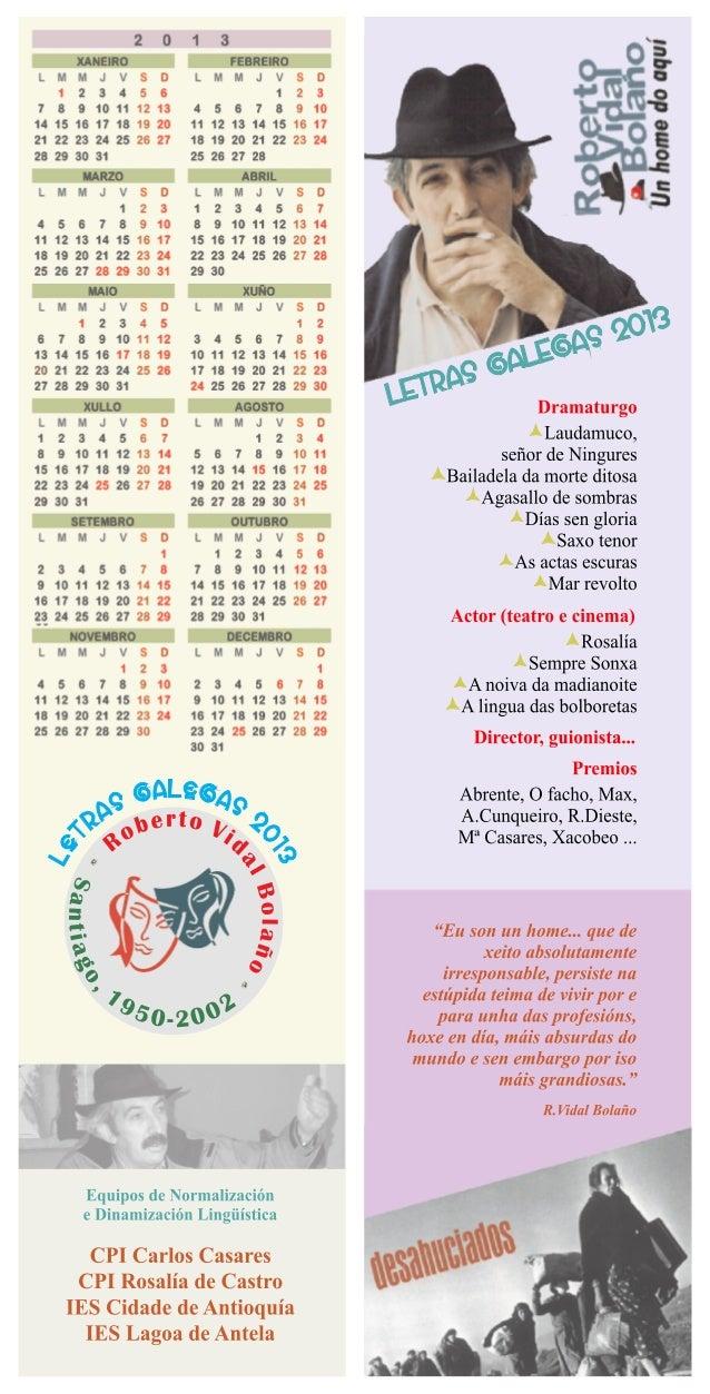 Calendario roberto vidal bolaño 2013 edlg do ies lagoa de antela