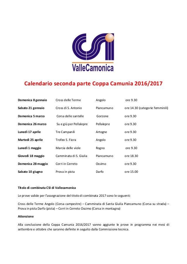 Calendario Csi.Csi Vallecamonica Calendario Seconda Parte Coppa Camunia 2017