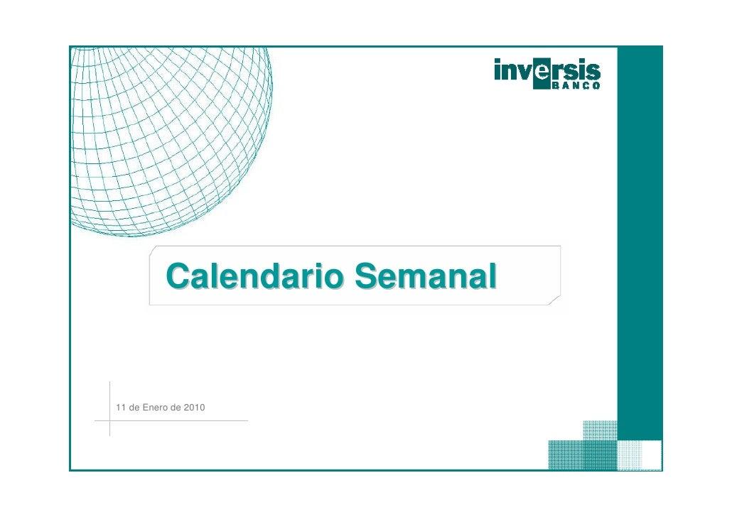 Calendario Semanal   11 de Enero de 2010