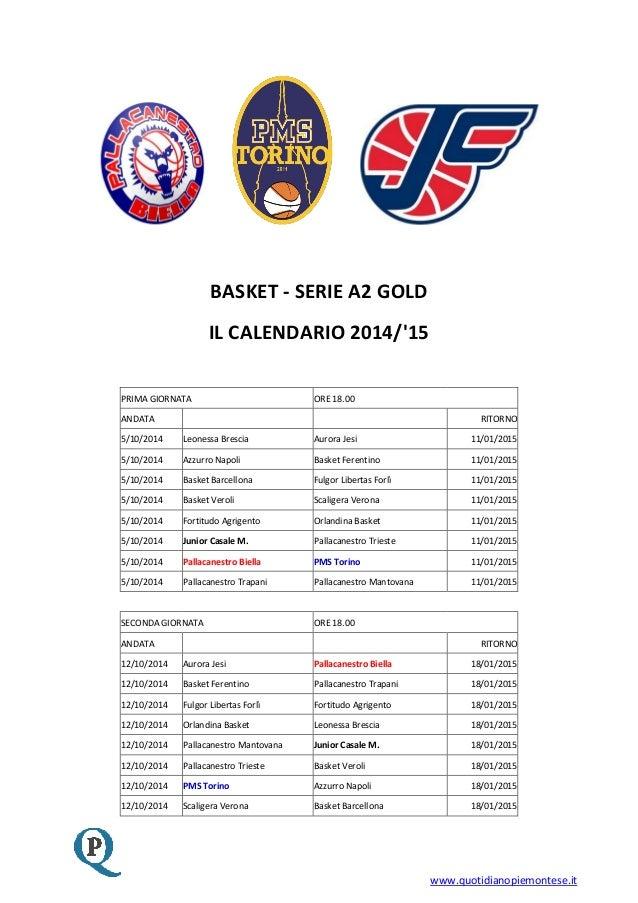 Calendario Serie A2 Basket.Calendario Serie A2 Gold 2014 2015