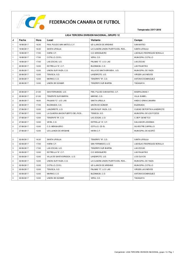 Competición: LIGA TERCERA DIVISION NACIONAL, grupo: 12. Pág. 1 Temporada: 2017-2018 LIGA TERCERA DIVISION NACIONAL, GRUPO ...