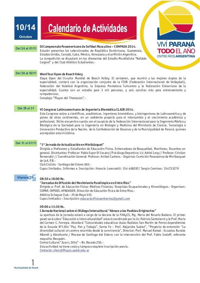 JUNIO 2011 Calendario de Actividades  Octubre  10/14  Del 24 al 01/11  Del 28 al 02/11  Del 29 al 31  Del 31 al 01/11  Vie...