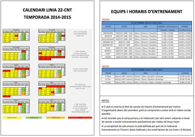 Calendari d'entrenaments Natació Línia 22 temporada 2014 2015