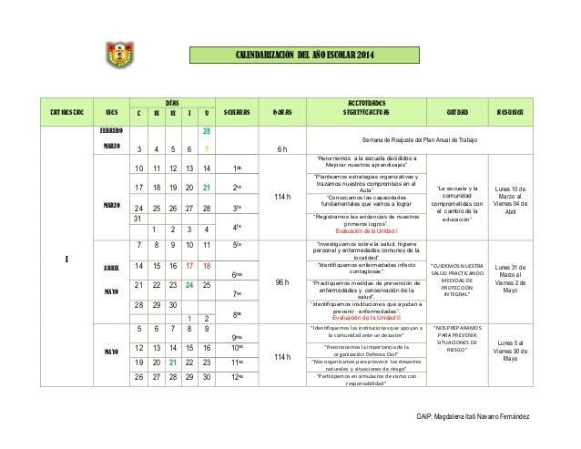 CALENDARIZACIÓN DEL AÑO ESCOLAR 2014  TRIMESTRE  MES  L  M  DÍAS M  J  SEMANAS  4 11  5 12  6 13  7 14  19  20  21  2ra  2...