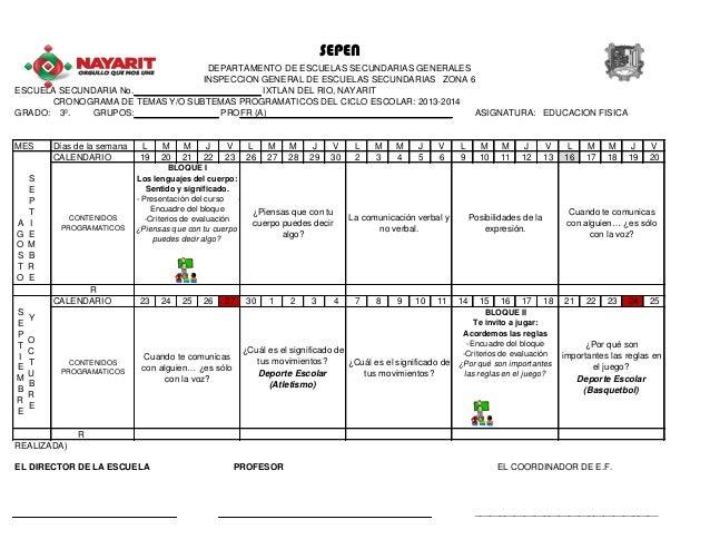 ESCUELA SECUNDARIA No. IXTLAN DEL RIO, NAYARIT CRONOGRAMA DE TEMAS Y/O SUBTEMAS PROGRAMATICOS DEL CICLO ESCOLAR: 2013-2014...