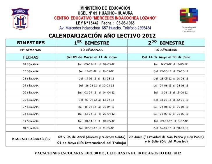 """MINISTERIO DE EDUCACIÓN                                 UGEL Nº 09 HUACHO - HUAURA                     CENTRO EDUCATIVO """"M..."""