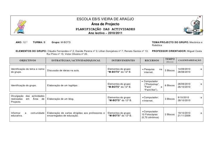 Calendarização das actividades