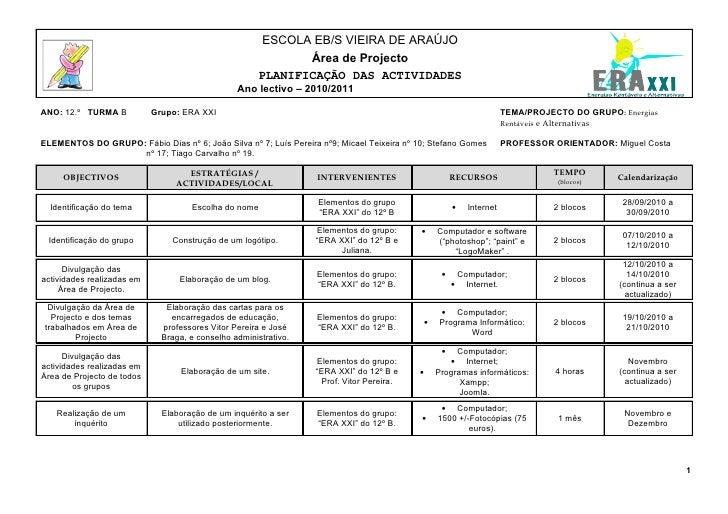 ESCOLA EB/S VIEIRA DE ARAÚJO                                                              Área de Projecto                ...