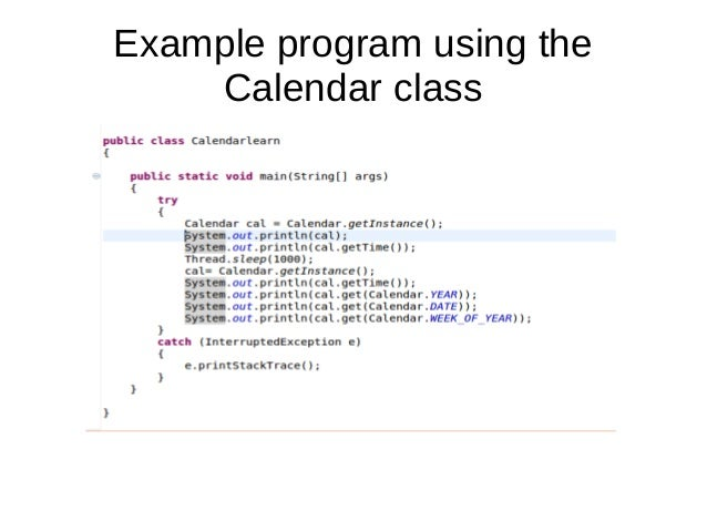 Calendar class in java