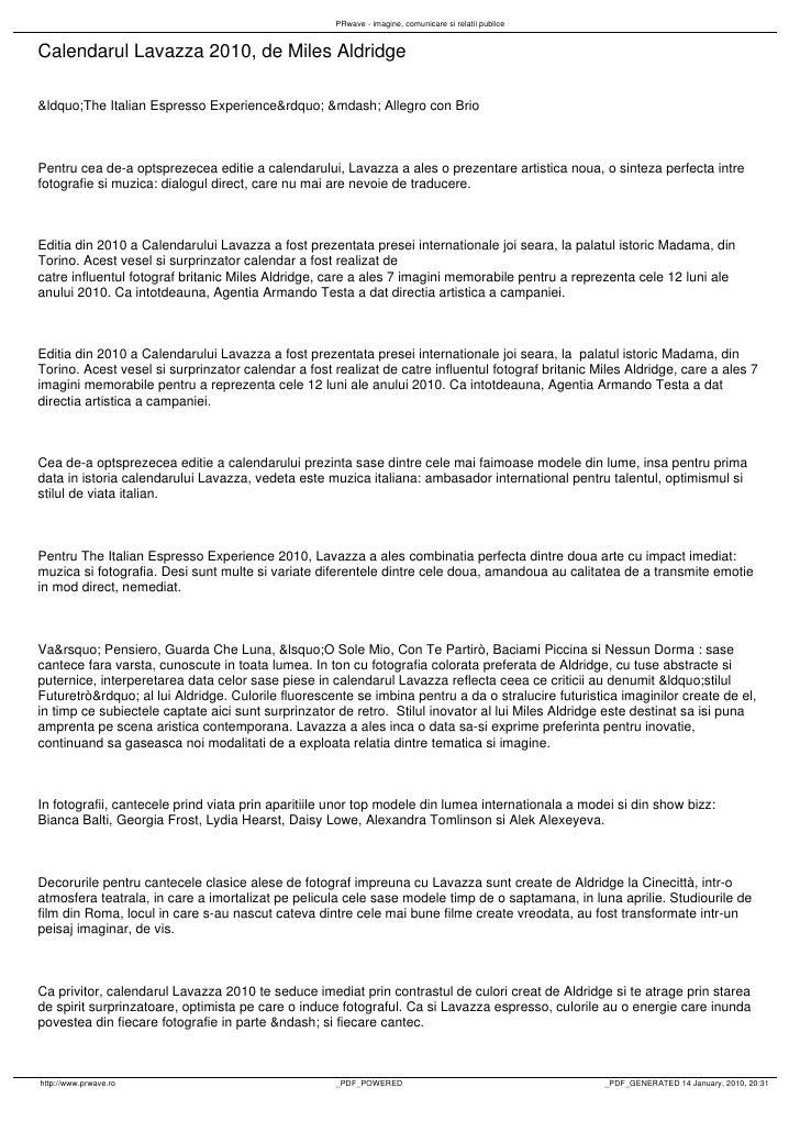 "PRwave - imagine, comunicare si relatii publice   Calendarul Lavazza 2010, de Miles Aldridge  ""The Italian Espresso ..."