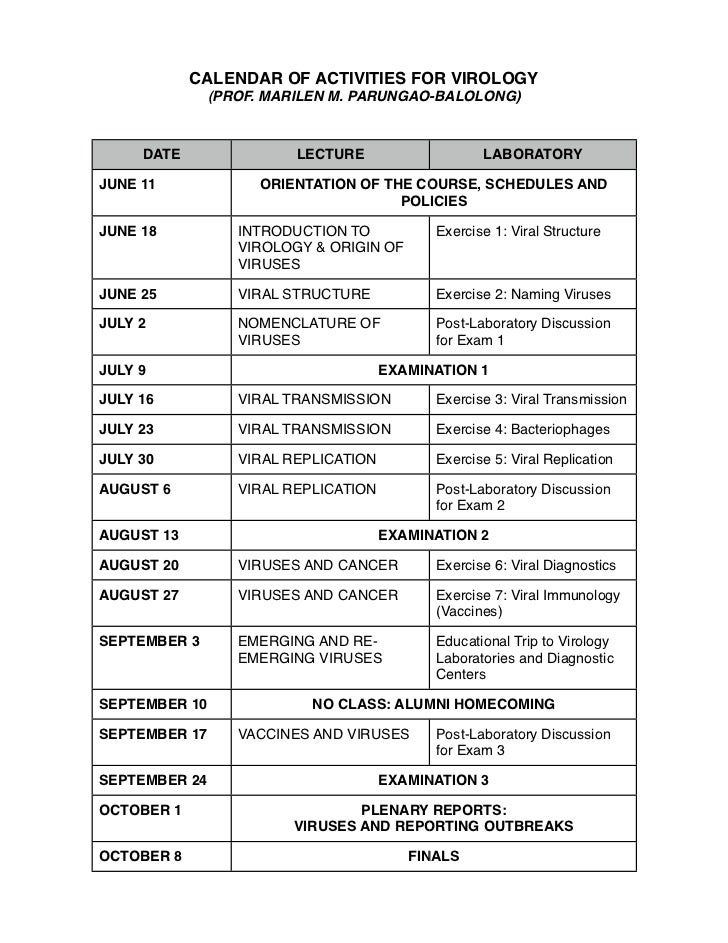 CALENDAR OF ACTIVITIES FOR VIROLOGY               (PROF. MARILEN M. PARUNGAO-BALOLONG)     DATE                LECTURE    ...