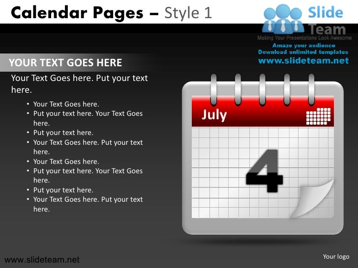 Calendar Design Powerpoint : Calendar pages design powerpoint presentation slides