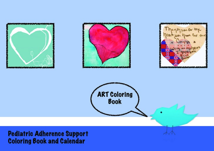 Art Calendar Book : Pediatric art coloring book and calendar