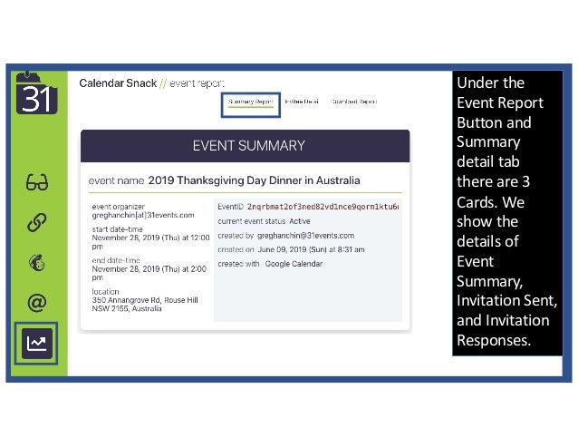 Under the Event Report Button and Summary detail tab there are 3 Cards. We show the details of Event Summary, Invitation S...