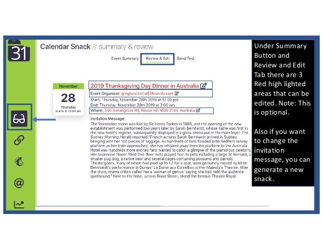 Under Summary Button and Review and Edit Tab there are 3 Red high lighted areas that can be edited. Note: This is optional...