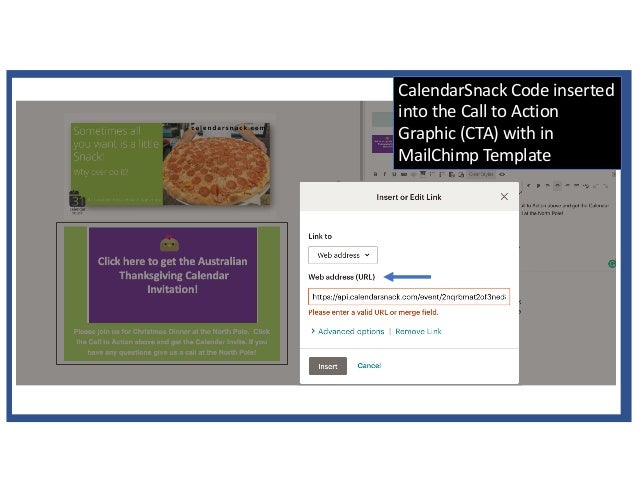 CalendarSnack Code inserted into the Call to Action Graphic (CTA) with in MailChimp Template